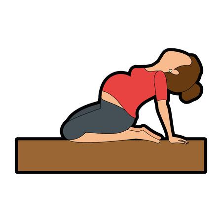 Mujer embarazada hacer ejercicios de profilaxis diseño de ilustración vectorial Foto de archivo - 85042274
