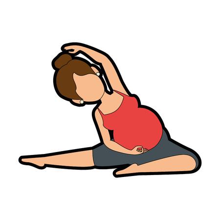 Mujer embarazada hacer ejercicios de profilaxis diseño de ilustración vectorial Foto de archivo - 85042296