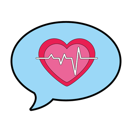 speech bubble with heart cardio vector illustration design Stock Photo