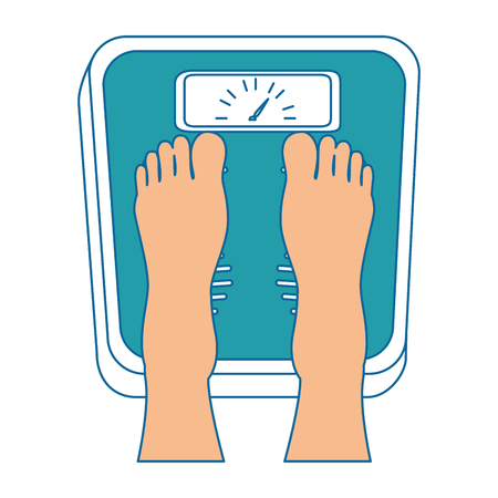 feets with scale weight measure icon vector illustration design  イラスト・ベクター素材