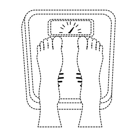 bathroom scale: Feet with weighing scale weight measure icon vector illustration design Illustration