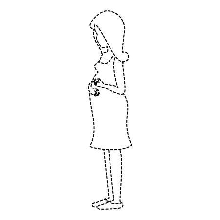 Woman pregnant avatar character vector illustration design Illustration