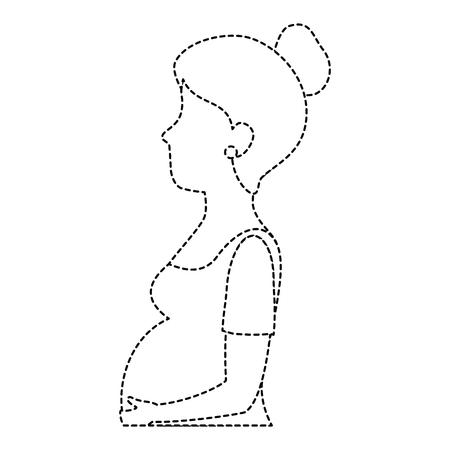 woman pregnant avatar character vector illustration design
