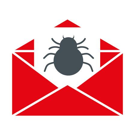 envelope mail spam with spider vector illustration design Illustration