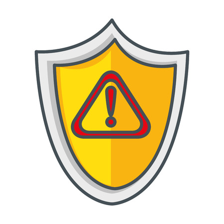 shield security with alert symbol vector illustration design