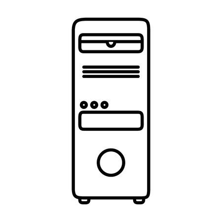타워 컴퓨터 격리 아이콘 벡터 일러스트 디자인
