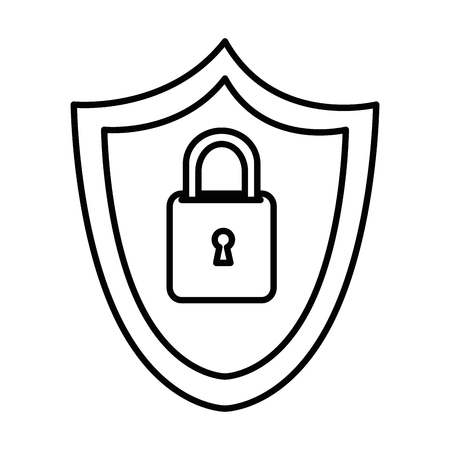 shield with safe secure padlock icon vector illustration design