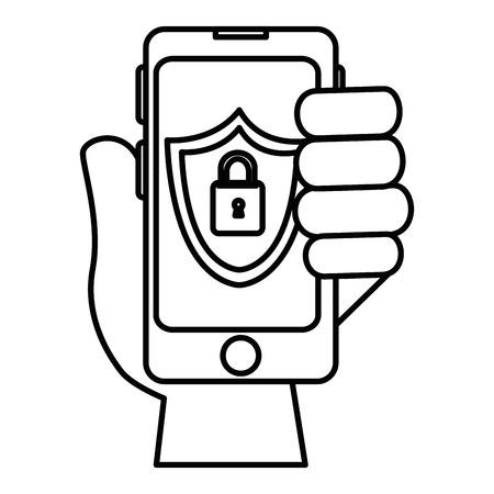 smartphone device with padlock vector illustration design
