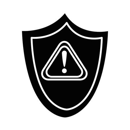 Seguridad escudo con advertencia símbolo ilustración vectorial de diseño Foto de archivo - 85030674