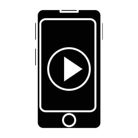 smartphone device with play button vector illustration design