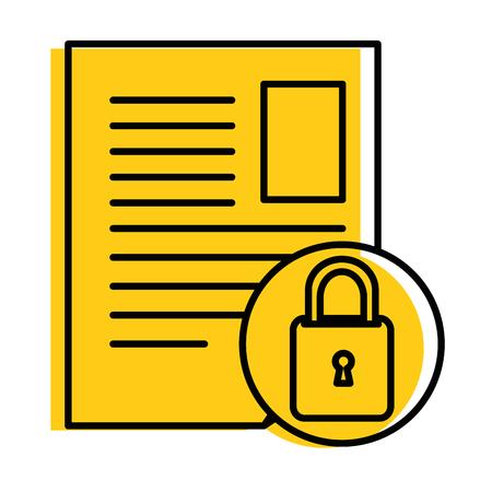 document paper with padlock vector illustration design Illustration