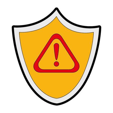 Seguridad de escudo con diseño de ilustración de vector de símbolo de alerta Foto de archivo - 85029970