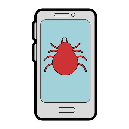smartphone device with spider vector illustration design