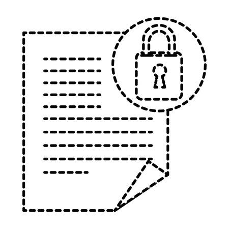 document paper with padlock vector illustration design 向量圖像