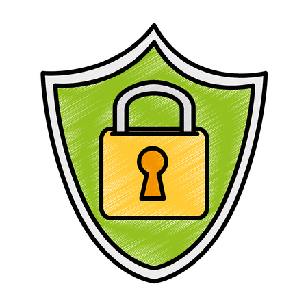 Shield with safe secure padlock icon vector illustration design Illustration
