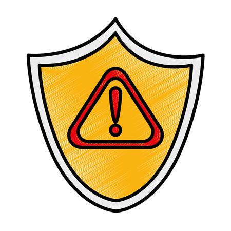 Shield security with alert symbol vector illustration design Ilustração