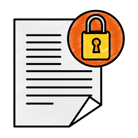document paper with padlock vector illustration design Illustration