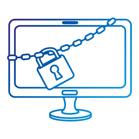 security monitor: monitor computer with chain and padlock vector illustration design
