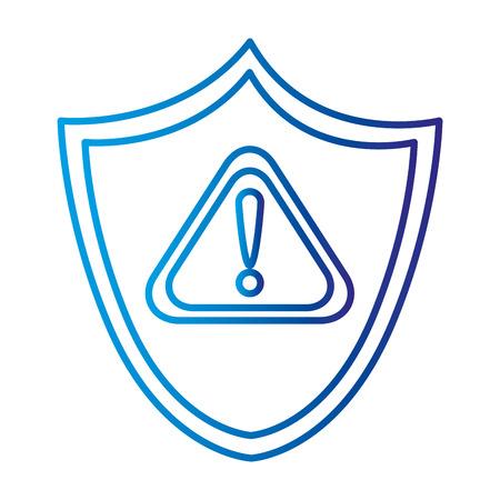 shield security with alert symbol vector illustration design