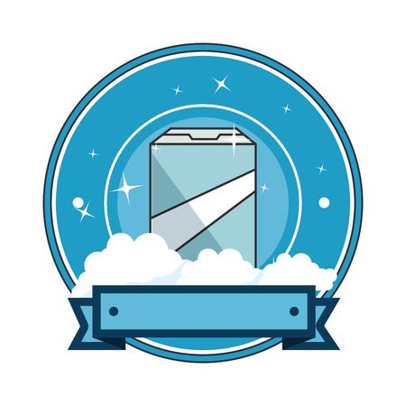powder detergent box emblem vector illustration design