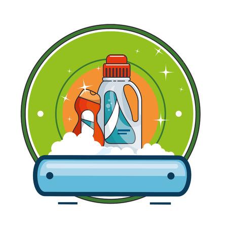 cleaner bottles laundry products emblem vector illustration design Illustration