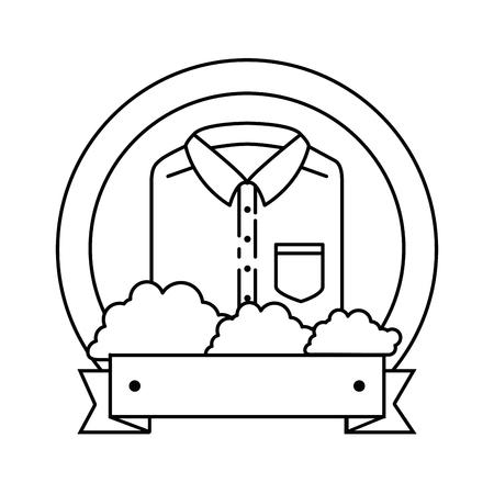 Folded shirt emblem product vector illustration design