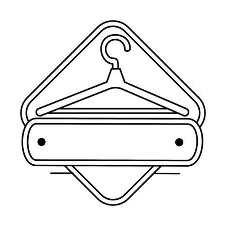 wooden clothespin emblem product vector illustration design