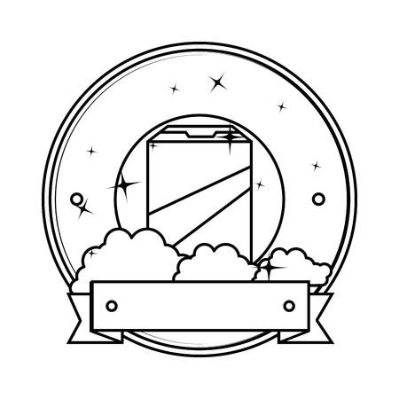 Detergente en polvo cuadro emblema ilustración vectorial diseño Foto de archivo - 85030797