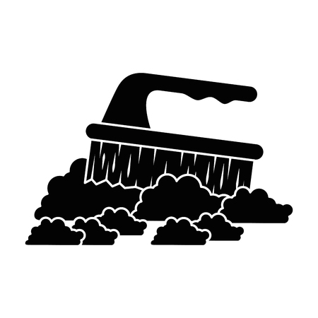 Handle brush cleaner with foam vector illustration design