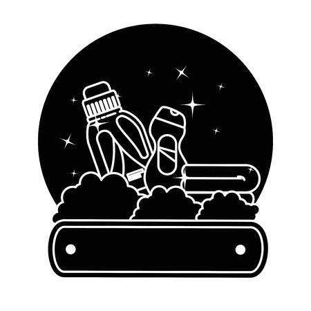 Cleaner bottles laundry products emblem vector illustration design