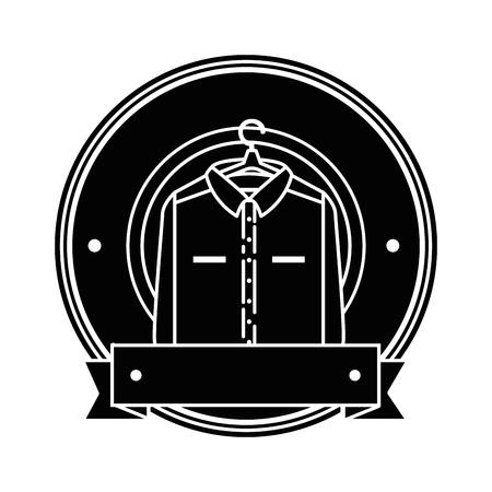 Clean laundry hanging emblem vector illustration design