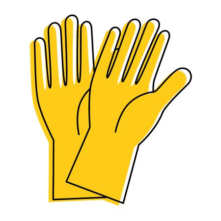 Guantes de goma icono aislado diseño de la ilustración vectorial