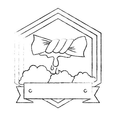 Dessiner l & # 39 ; emblème de vêtements conception illustration vectorielle Banque d'images - 85031887