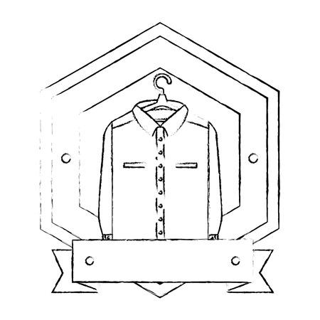 Clean laundry hanging emblem vector illustration design.