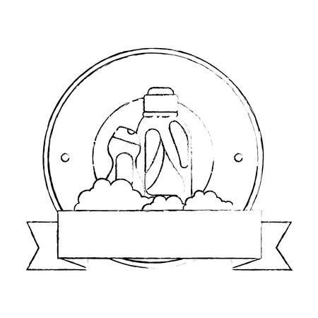 Cleaner bottles laundry products emblem vector illustration design.