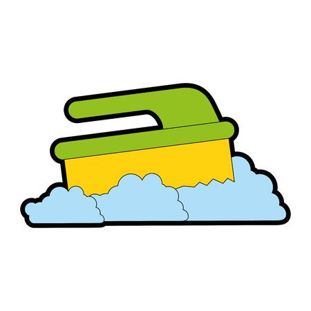 handle brush cleaner with foam vector illustration design