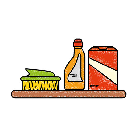 laundry care symbol: Shelf with laundry products vector illustration design Illustration