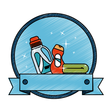 cleaner bottles laundry products emblem vector illustration design Illustration