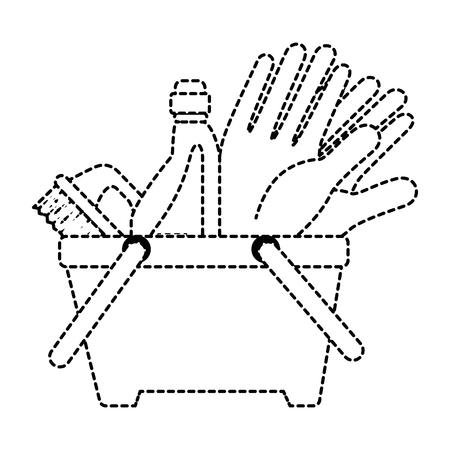 洗濯物付きプラスチックバスケットベクトルイラストデザイン