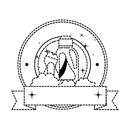 Diseño del ejemplo del vector del emblema de los productos del lavadero de las botellas Foto de archivo - 85031855