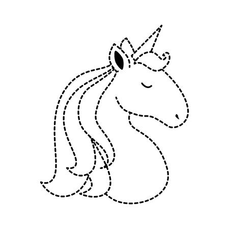Cute unicorn character icon vector illustration design