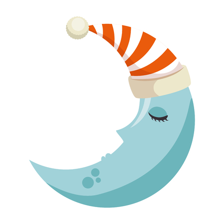 Moon with sleeping cap kawaii character vector illustration design