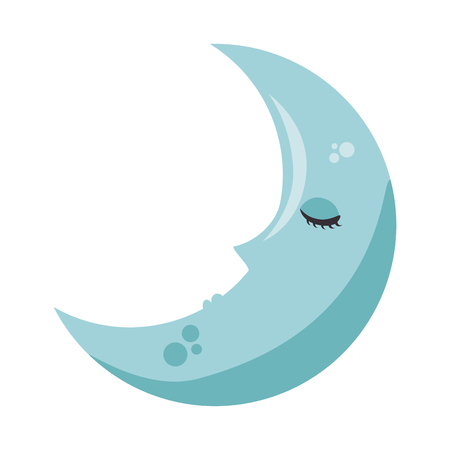 Sleeping moon kawaii character vector illustration design