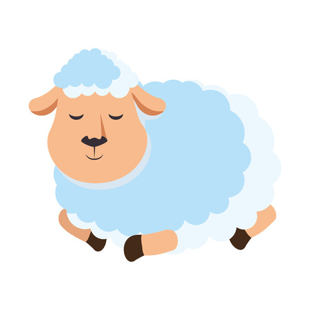 Cute sheep character icon vector illustration design Çizim