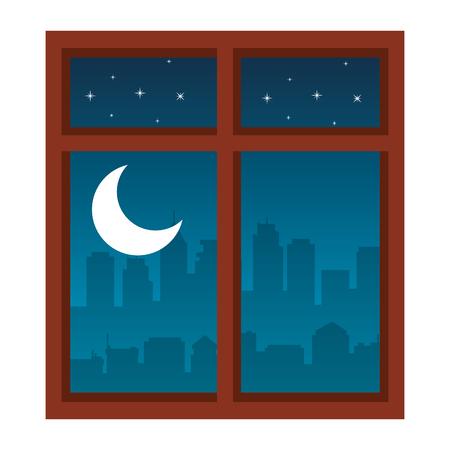 windows with night scene vector illustration design Иллюстрация