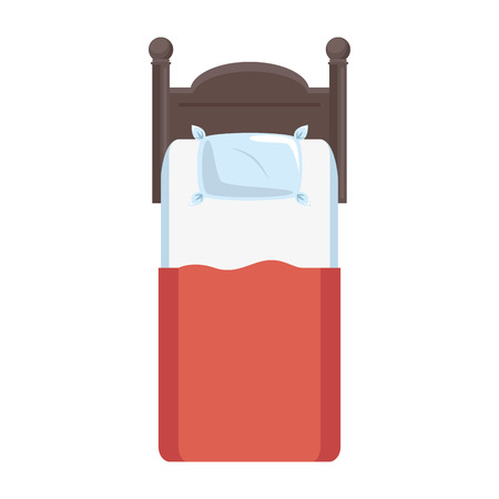 bedside: comfortable bed isolated icon vector illustration design Illustration