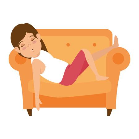 woman sleeping on sofa vector illustration design