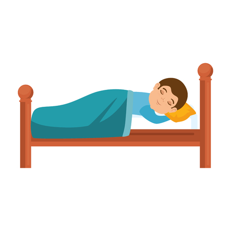 man sleeping on the bed vector illustration design Stock Illustratie