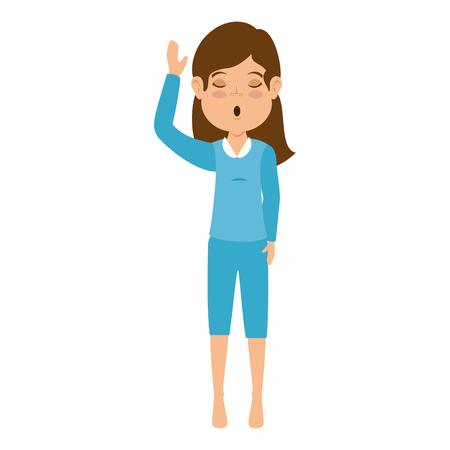 Woman sleeping character icon vector illustration design