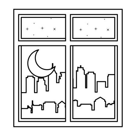 windows with night scene vector illustration design 向量圖像